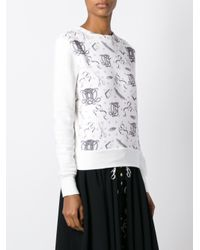 Olympia Le-Tan - Multicolor Printed Panel Sweatshirt - Lyst