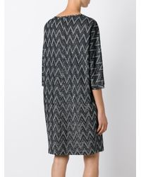 M Missoni - Metallic Zigzag Knit Shift Dress - Lyst