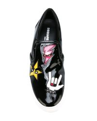 DSquared² - White Patch Detail Slip-on Sneakers for Men - Lyst
