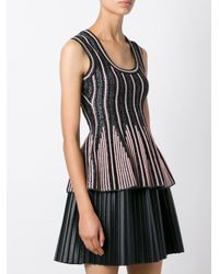 M Missoni - Black Striped Knitted Top - Lyst