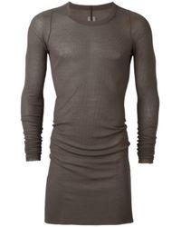 Rick Owens   Gray Longsleeved Sheer Ribbed T-shirt for Men   Lyst