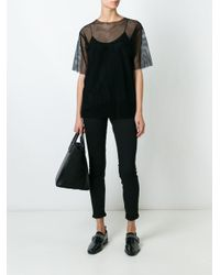 MM6 by Maison Martin Margiela - Black Mesh T-shirt - Lyst