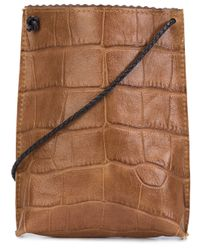 B May - Brown Cellphone Leather Cross-Body Bag - Lyst