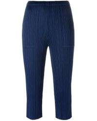 Pleats Please Issey Miyake | Blue - Pleated Cropped Trousers - Women - Polyester - 5 | Lyst