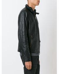 John Varvatos - Black Zipped Leather Jacket for Men - Lyst