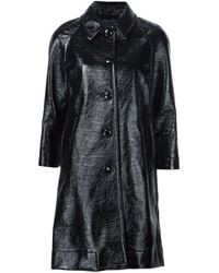 Marc Jacobs | Blue Single Breasted Pleather Coat | Lyst
