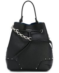 Furla | Black Stacy Studded Bucket Tote | Lyst