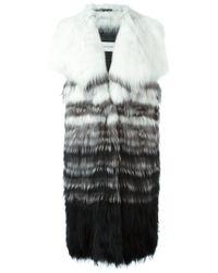 Yves Salomon | White - Fur Gilet - Women - Cotton/fox Fur/spandex/elastane - 38 | Lyst