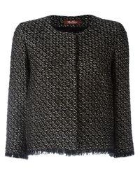Max Mara Studio | Black Textured Fitted Jacket | Lyst