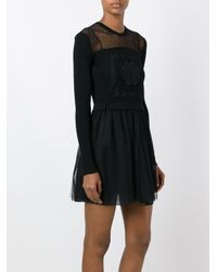 RED Valentino - Black Crochet Sheer Chest Dress - Lyst