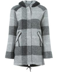 Woolrich   Gray Checked Hooded Coat   Lyst