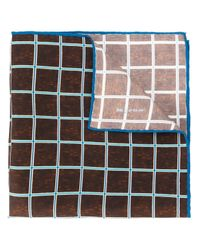 Kiton | Brown Grid Check Pocket Square for Men | Lyst