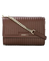 DKNY - Brown Ribbed Crossbody Bag - Lyst