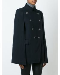 Balmain - Blue Double-breasted Poncho - Lyst