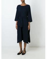 Daniela Gregis | Blue Belted Wool Dress | Lyst