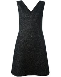 Agnona - Black V-neck A-line Dress - Lyst