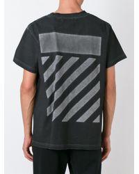 Off-White c/o Virgil Abloh - Black Striped Back Print T-shirt for Men - Lyst