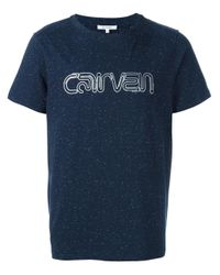 Carven   Blue - Glitter Effect Logo T-shirt - Men - Cotton/spandex/elastane - L for Men   Lyst