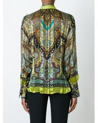 Etro - Green Ruffle Front Semi Sheer Shirt - Lyst