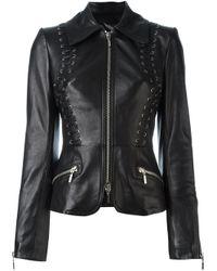 Plein Sud | Black Fitted Leather Jacket | Lyst