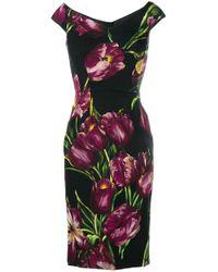 Dolce & Gabbana | Black Floral Print Dress | Lyst
