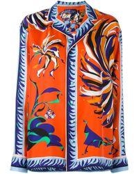 Emilio Pucci - Orange - Floral Print Longsleeved Shirt - Women - Silk - 42 - Lyst