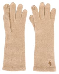 Polo Ralph Lauren | Natural Embroidered Logo Gloves | Lyst