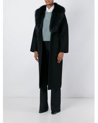P.A.R.O.S.H. | Black - 'lover' Coat - Women - Polyester/wool/marmot Fur - S | Lyst