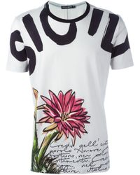 Dolce & Gabbana | Gray Floral Print T-shirt for Men | Lyst