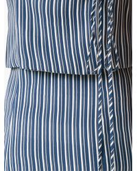 Giuliana Romanno - Blue Striped Crepe Midi Dress - Lyst