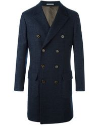 Brunello Cucinelli | Blue Double Breasted Coat for Men | Lyst