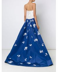 Carolina Herrera - Blue Embellished Strapless Gown - Lyst