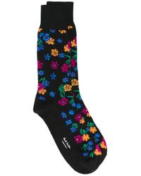 Paul Smith | Black Floral Pattern Socks | Lyst