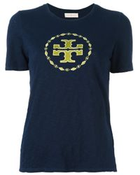 Tory Burch | Blue Embroidered Logo T-shirt | Lyst