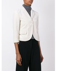 MM6 by Maison Martin Margiela - Black Velvet Cropped Blazer - Lyst