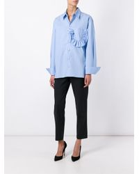 Marni - Blue Shirt In Crispy Cotton With Ruffles And Slits - Lyst