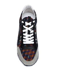 Pierre Hardy - Blue 'Track' Camocube Print Sneakers for Men - Lyst
