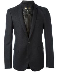 Les Hommes | Black Layered Effect Mixed Media Blazer for Men | Lyst