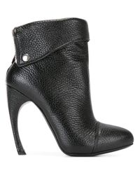 Alexander McQueen - Black Folded Panel Ankle Boots - Lyst