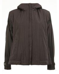 Pleats Please Issey Miyake | Black Loose-fit Sleeves Hooded Jacket | Lyst