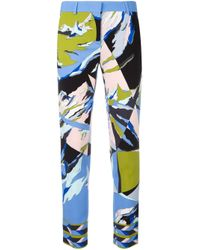 Emilio Pucci | Blue - Abstract Print Cropped Trousers - Women - Silk/spandex/elastane/viscose - 38 | Lyst