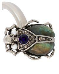 Alexander McQueen - Metallic Bejewelled Beetle Bracelet - Lyst