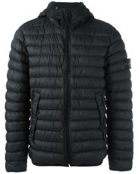 Stone Island - Black Hooded Padded Jacket for Men - Lyst