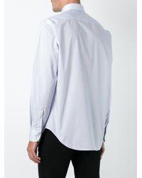 Armani - Blue 'modern' Stripe Cotton Shirt for Men - Lyst