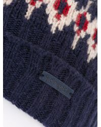 Woolrich - Blue Patterned Knit Beanie for Men - Lyst
