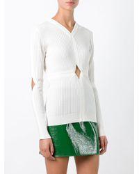 Courreges - White - Cut-off Detailing Knit Blouse - Women - Polyamide/spandex/elastane/merino - 3 - Lyst