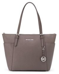 MICHAEL Michael Kors | Natural - Large 'jet Set' Top Zip Tote - Women - Leather - One Size | Lyst