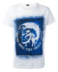 DIESEL - White Mohawk Print T-shirt for Men - Lyst