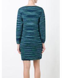 M Missoni - Blue Striped Sweater Dress - Lyst
