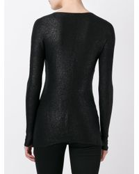 Avant Toi - Black Slim-fit Glitter Detail Top - Lyst